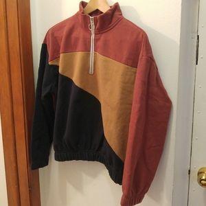 Tri-Color Quarter Zip Cropped Sweatshirt